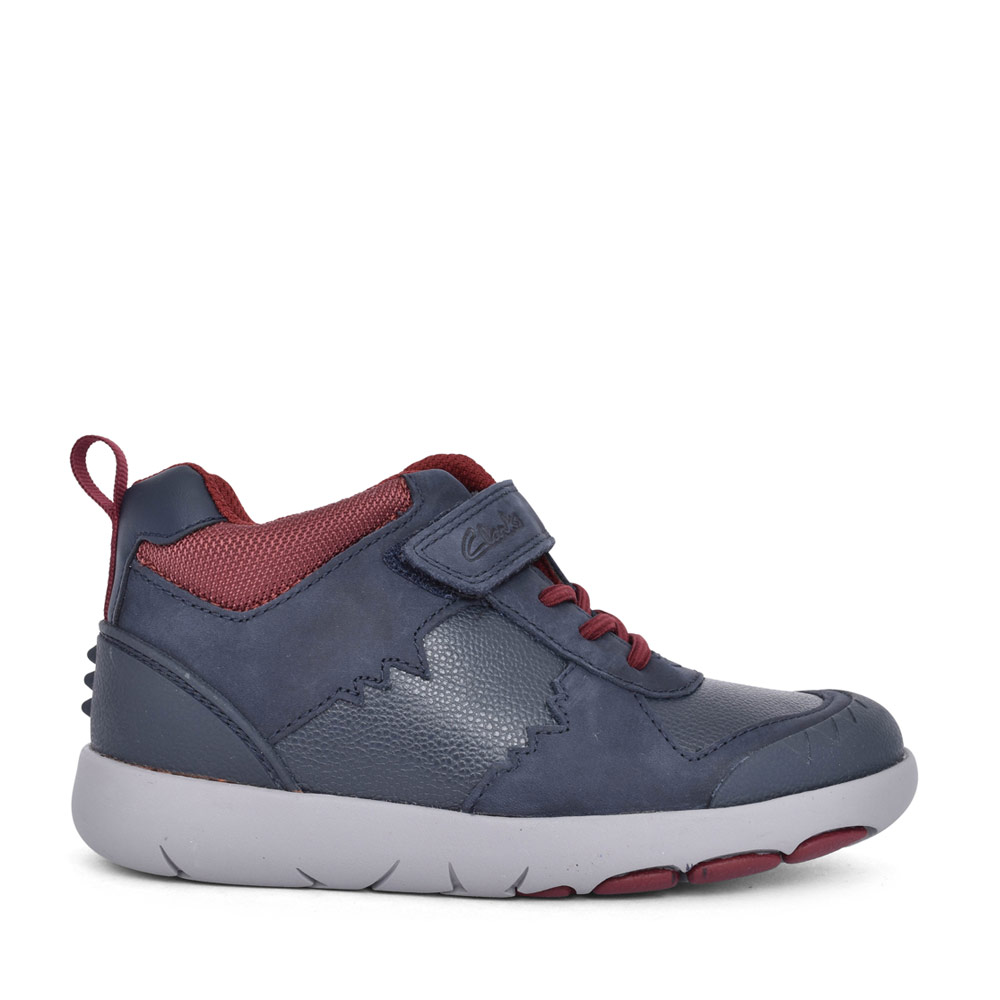 BOYS REX PARK NAVY LEATHER VELCRO HI-TOP in KIDS F FIT