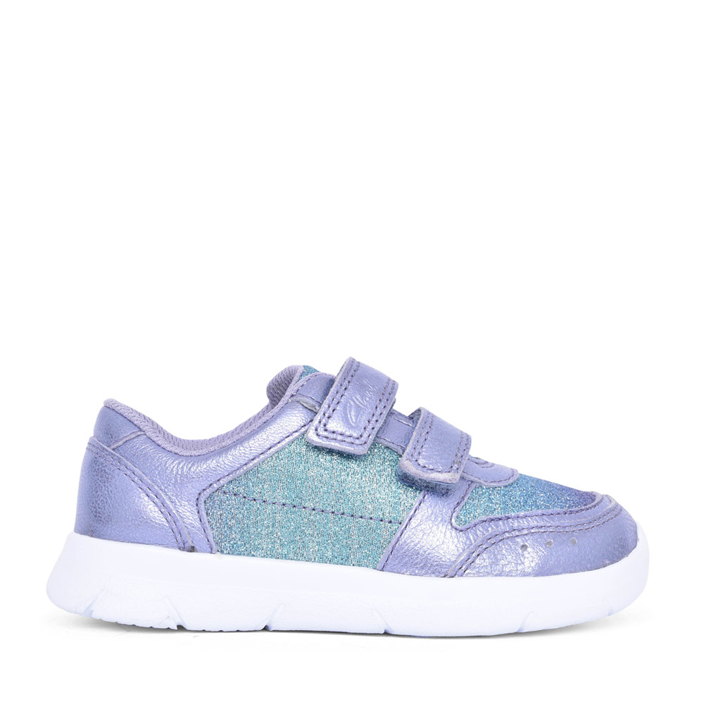 GIRLS ATH SONAR LILAC LEATHER VELCRO TRAINER in KIDS F FIT