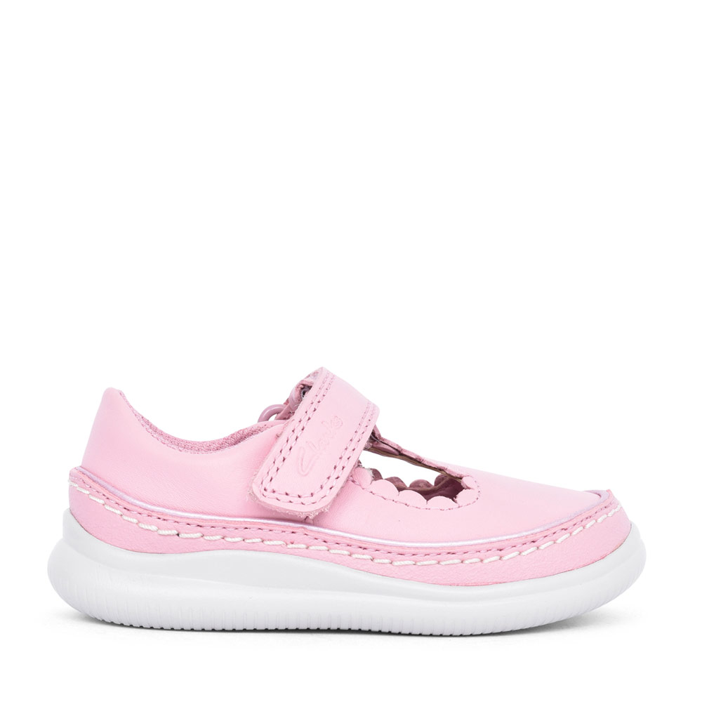 GIRLS CREST SKY PINK LEATHER T-BAR SHOE in KIDS H FIT
