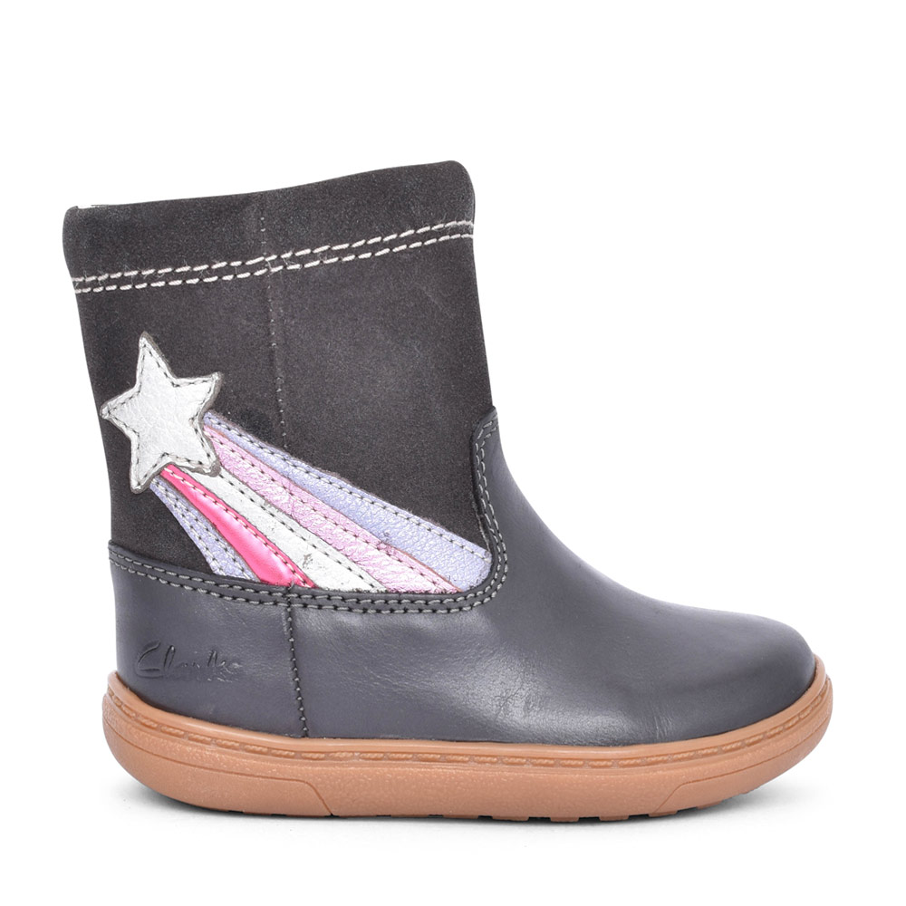 GIRLS FLASH SHINE DARK GREY LEATHER CALF BOOT in KIDS G FIT