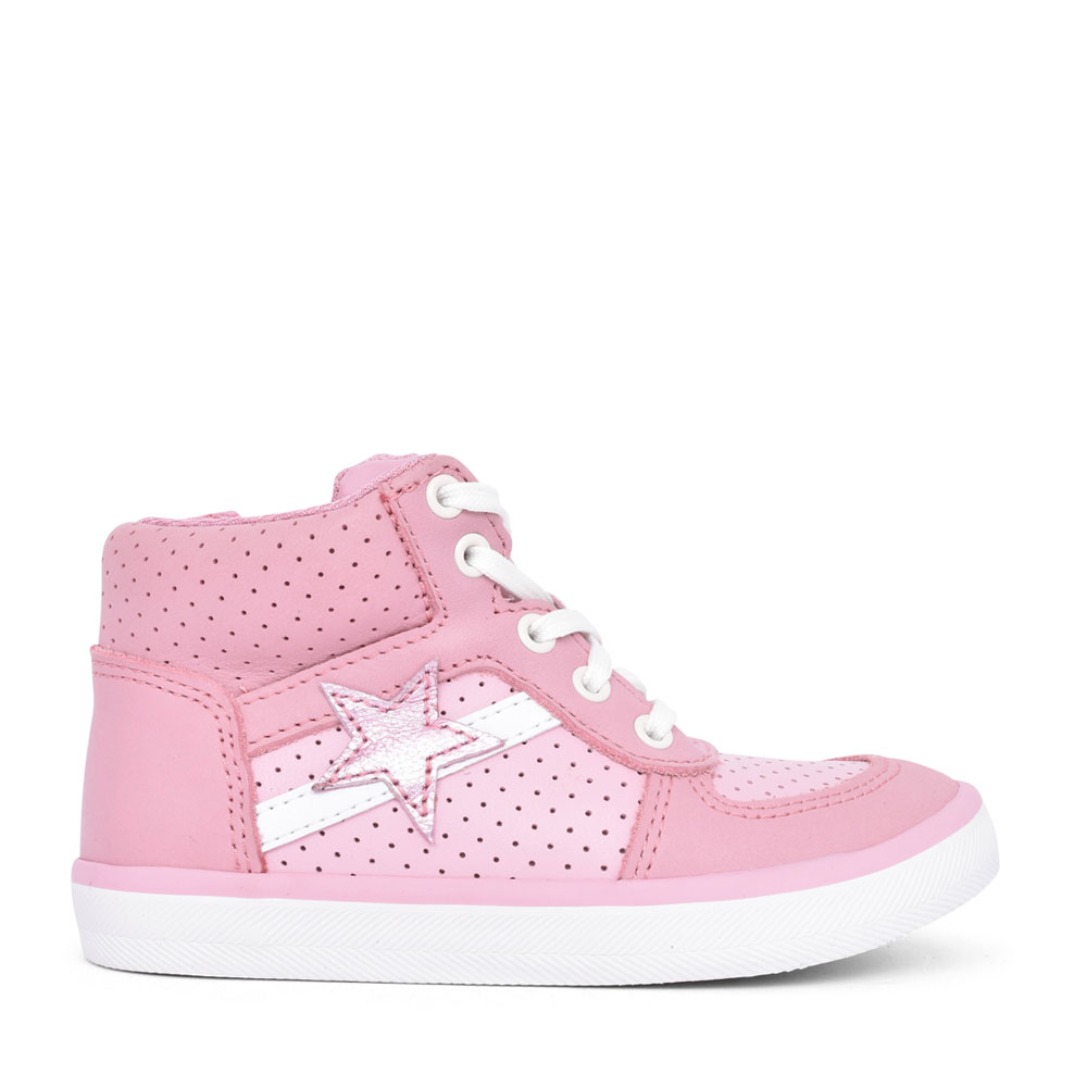 GIRLS CITY FLAKE PINK LEATHER ZIP UP HI-TOP in KIDS F FIT