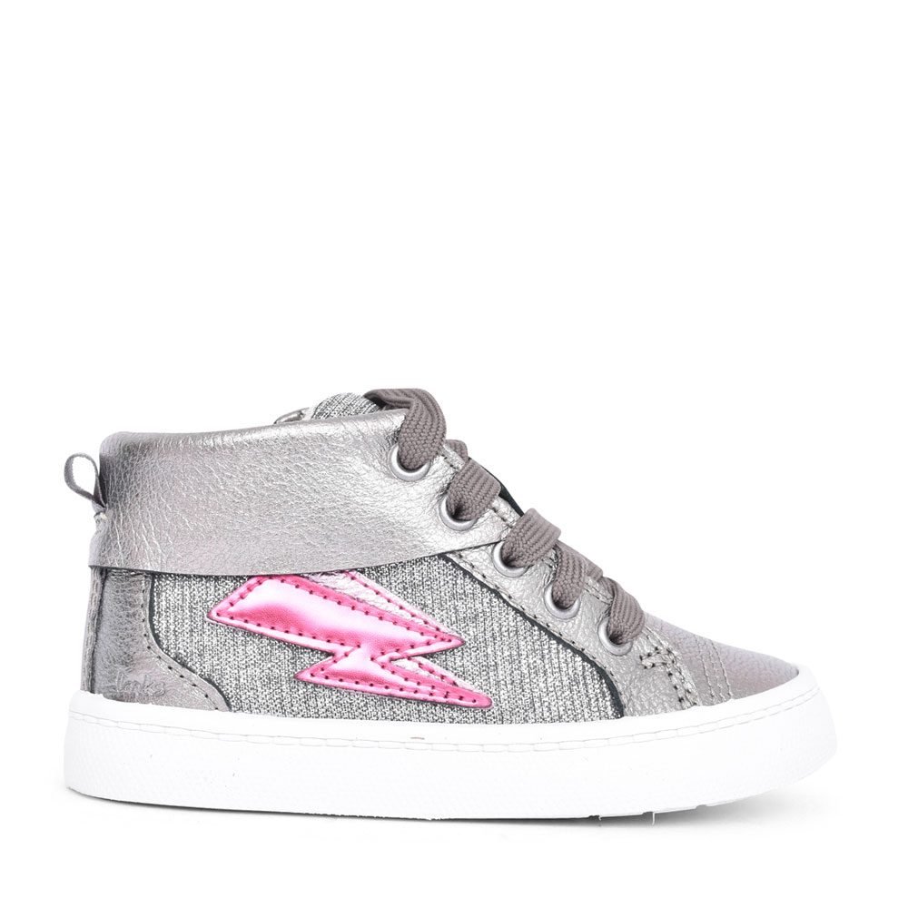 GIRLS CITY MYTH PEWTER LEATHER LACED HI-TOP BOOT in KIDS G FIT