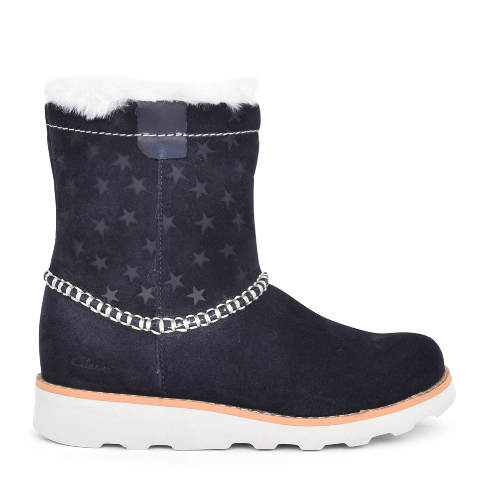 GIRLS CROWN PIPER NAVY SUEDE CALF BOOT in KIDS F FIT