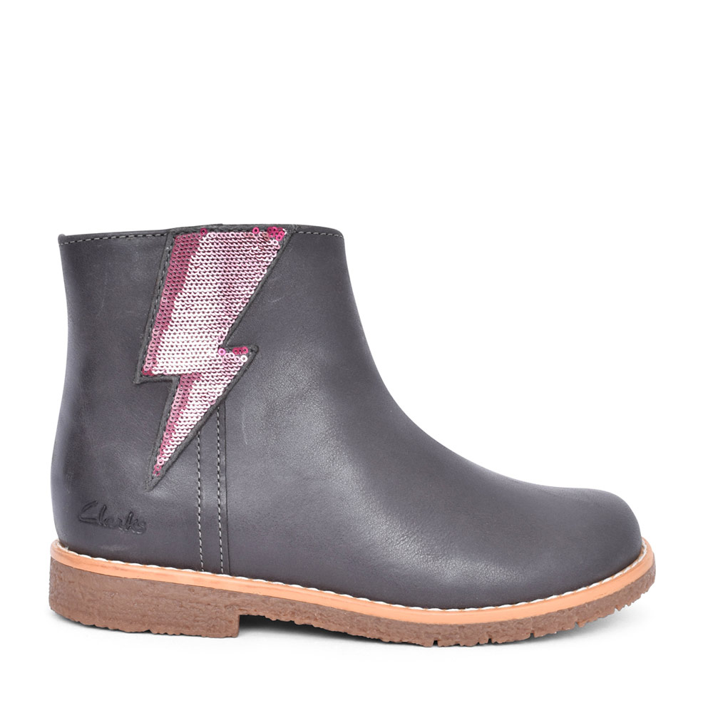 GIRLS COMET STRIPE GREY LEATHER ANKLE BOOT in KIDS F FIT