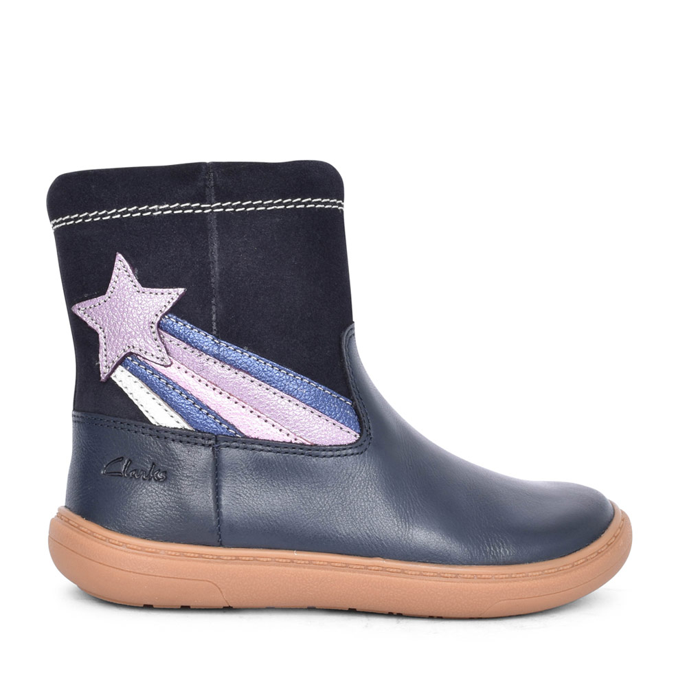 GIRLS FLASH SHINE NAVY LEATHER CALF BOOT in KIDS F FIT