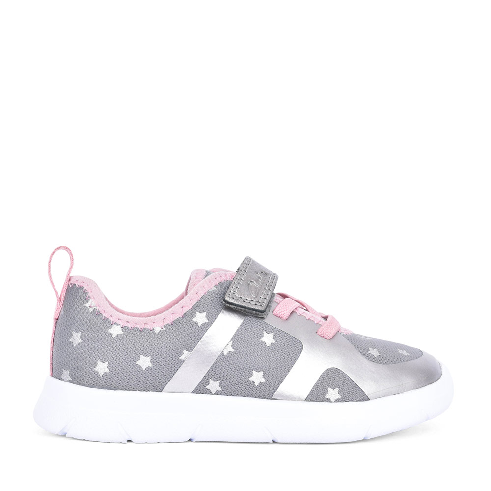 GIRLS HEATH LACE PEWTER TEXTILE VELCRO TRAINER in KIDS G FIT