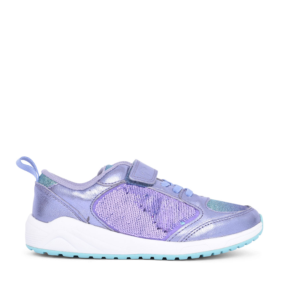 GIRLS AEON PACE LILAC LEATHER VELCRO TRAINER in KIDS F FIT