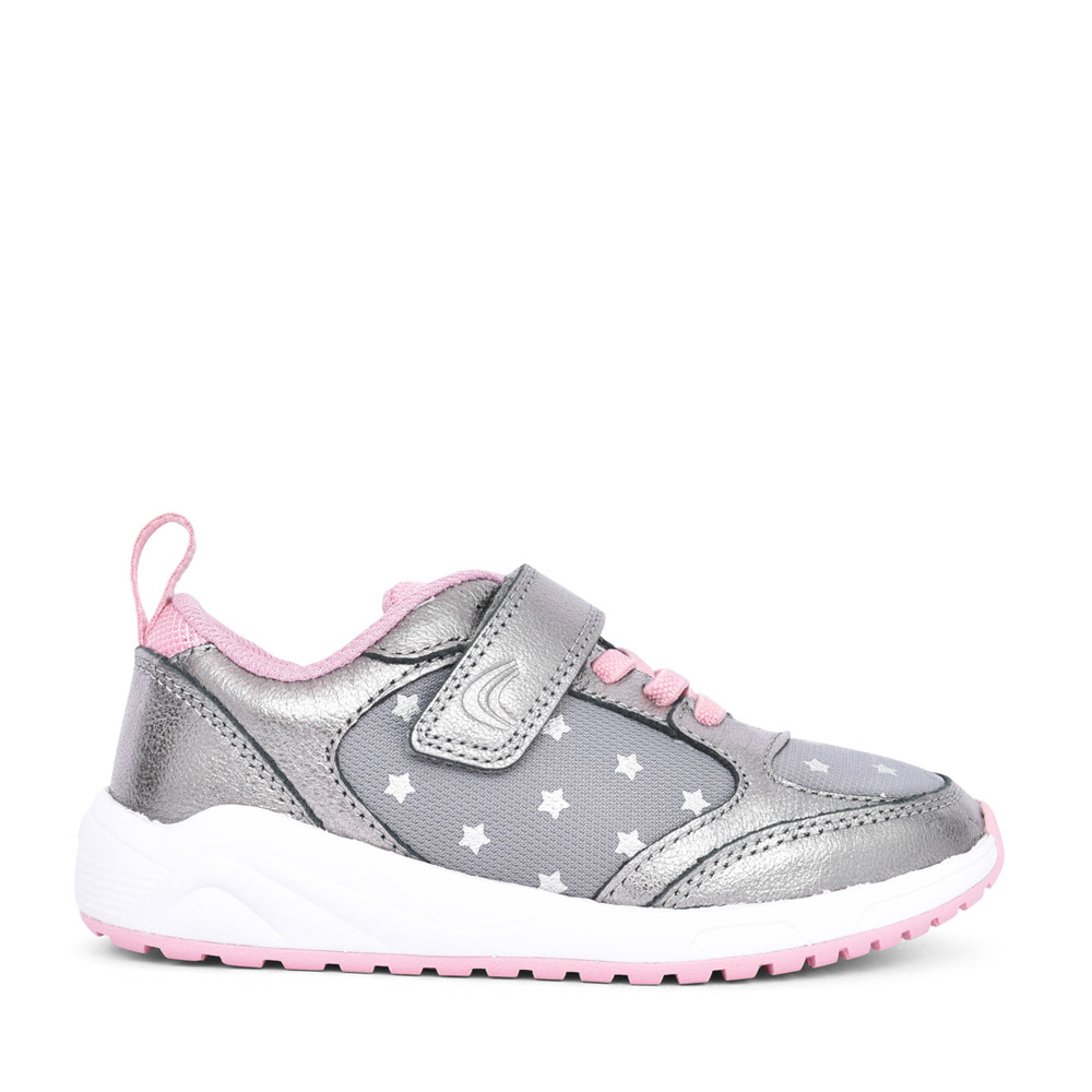 GIRLS ARON FLEX PEWTER LEATHER VELCRO TRAINER in KIDS F FIT