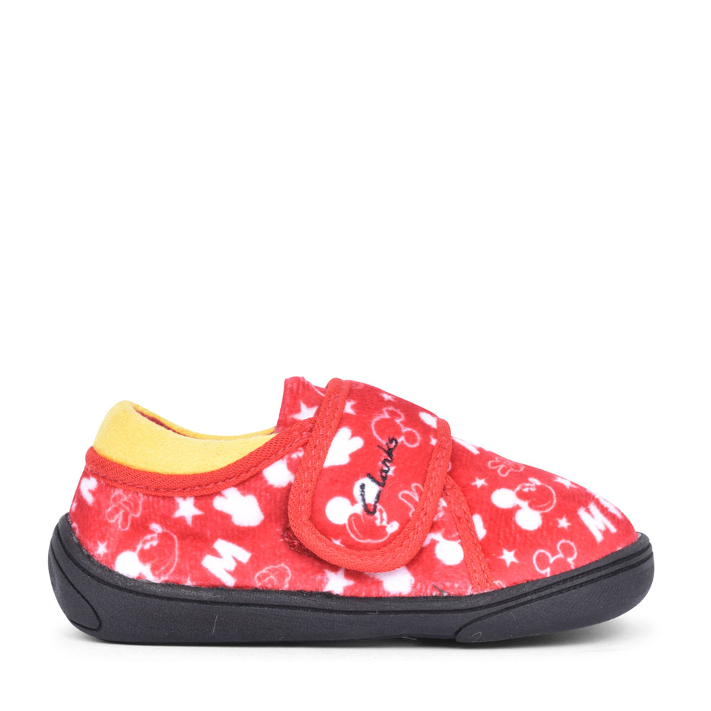 GIRLS HOLMLY MOUSE RED TEXTILE VELCRO SLIPPER in KIDS G FIT