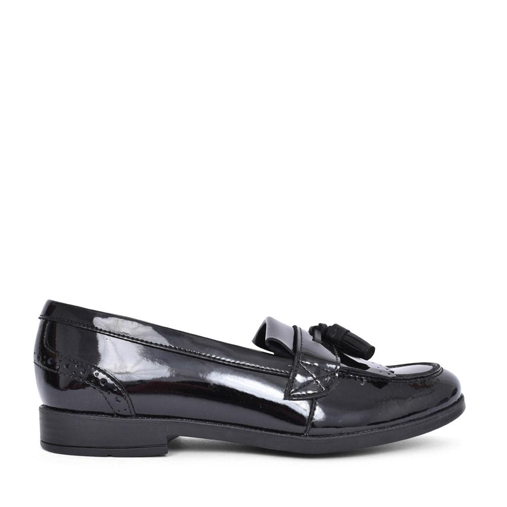 GIRLS SKETCH BLACK PATENT TASSLE SLIP ON SHOE in KIDS F FIT