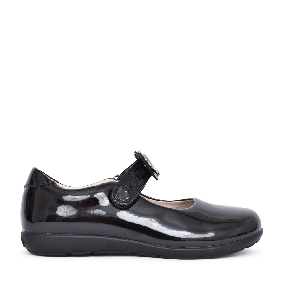 GIRLS LK8253 BLOSSOM G FIT VELCRO MARY JANE in BLK PATENT