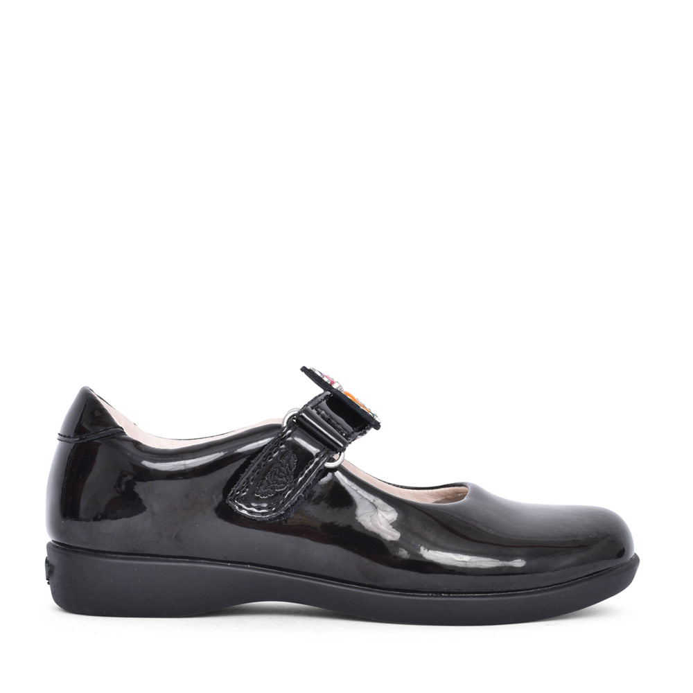 GIRLS BONNIE LK8321 E FIT VELCRO MARY JANE in BLK PATENT