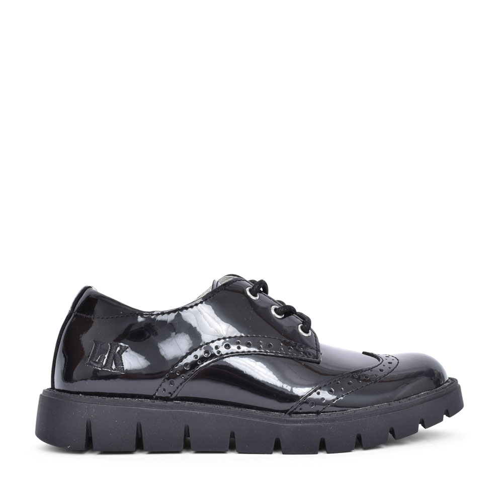 GIRLS MICHELLE BLACK PATENT LACED BROGUE SHOE in BLK PATENT