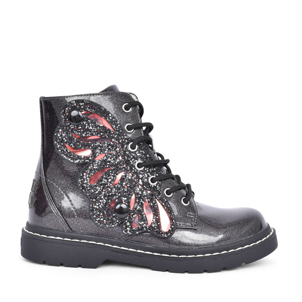 GIRLS LK5544 ALI PATENT LACED ANKLE BOOT in BLACK
