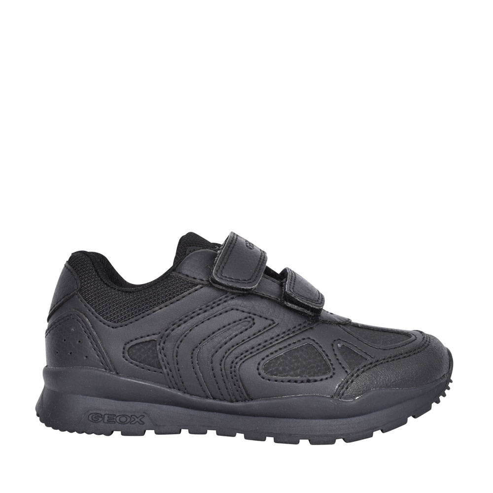 BOYS J0415C PAVEL DOUBLE VELCRO SHOE in BLK LEATHER