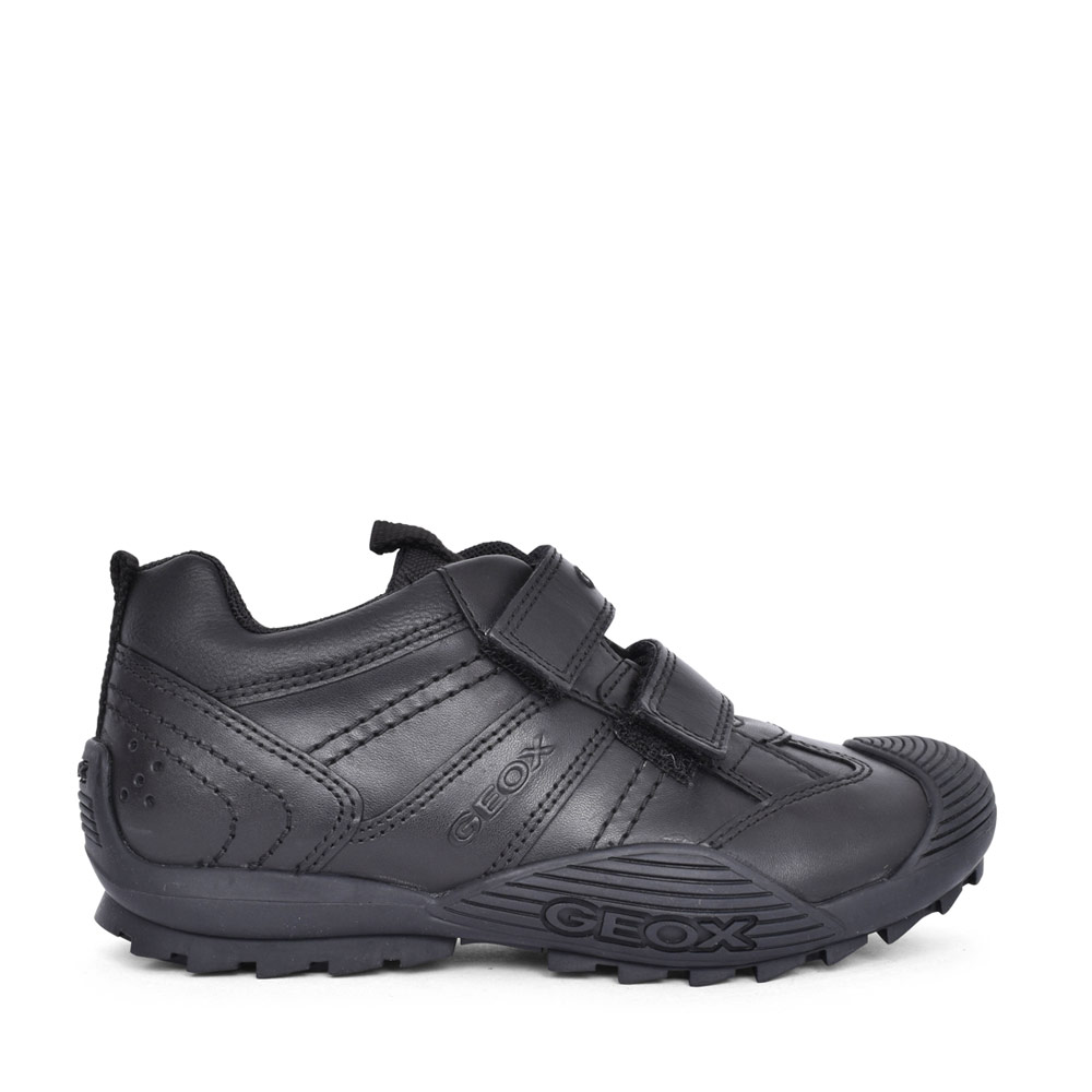 BOYS J0424A SAVAGE DOUBLE VELCRO SHOE in BLK LEATHER