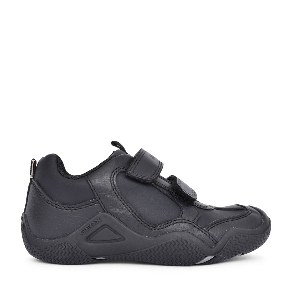BOYS J8430A WADER DOUBLE VELCRO SHOE in BLK LEATHER
