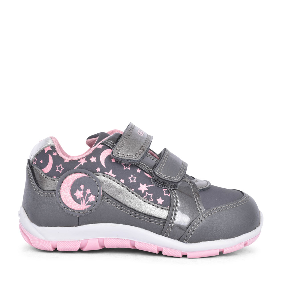 GIRLS B043YA HEIRA MOON & STARS VELCRO TRAINER in GREY
