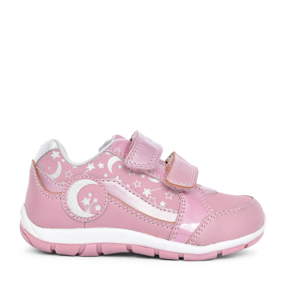 GIRLS B043YA HEIRA MOON & STARS VELCRO TRAINER in PINK