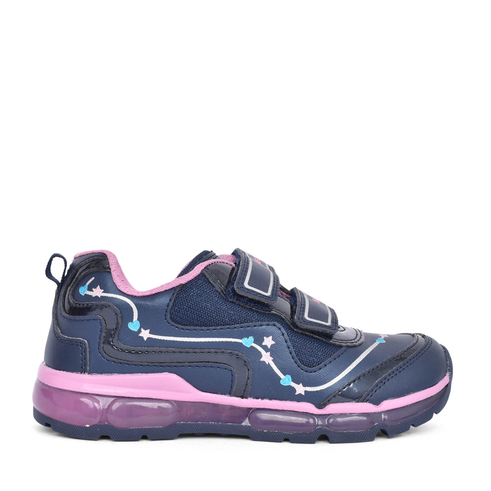 GIRLS J0445B ANDROID LIGHT UP VELCRO TRAINER in NAVY