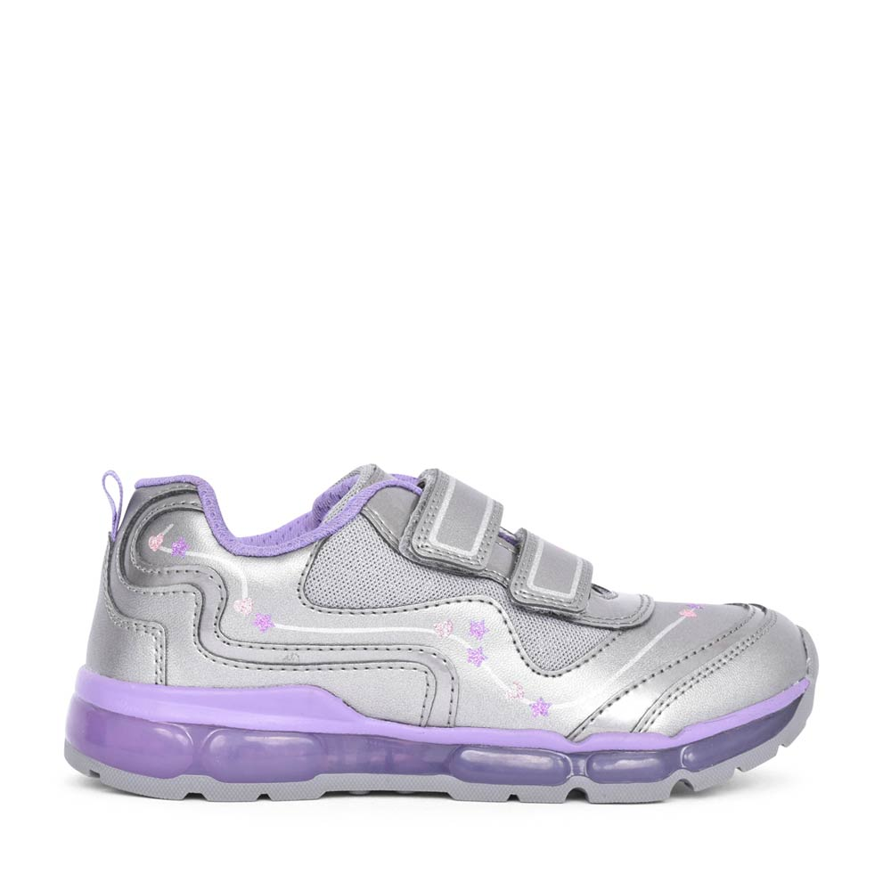 GIRLS J0445B ANDROID LIGHT UP VELCRO TRAINER in SILVER