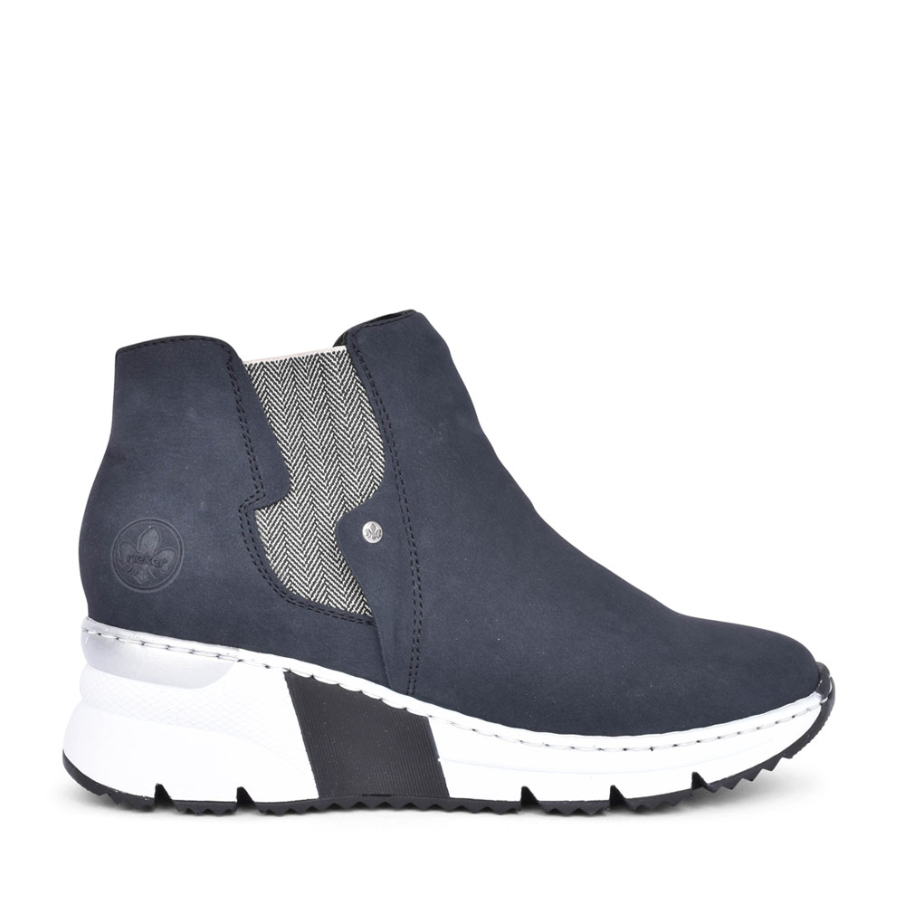 LADIES X6361 LOW WEDGE ANKLE BOOT in NAVY