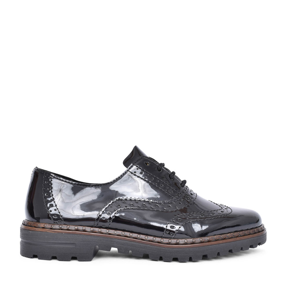 LADIES 54812 LACED BROGUE SHOE in BLK PATENT
