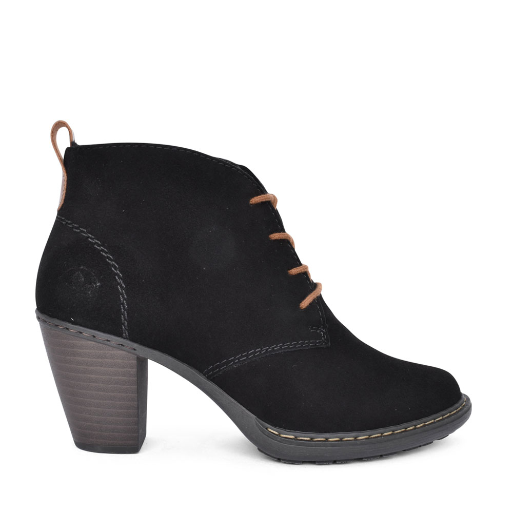 LADIES 55220 MEDIUM HEEL LACED ANKLE BOOT in BLACK