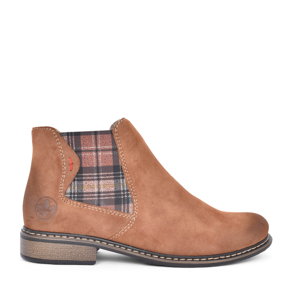 LADIES Z49A8 TARTAN GUSSET CHELSEA ANKLE BOOT in TAN