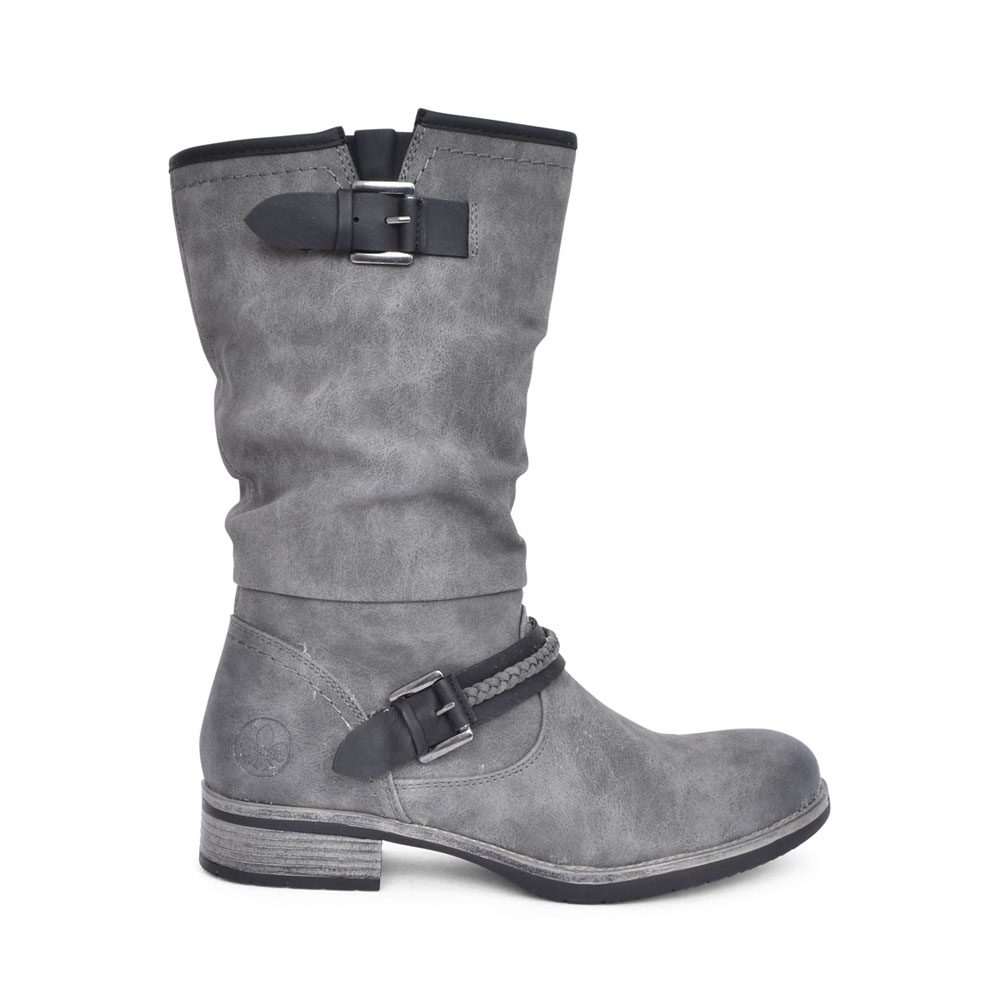 LADIES 98860 BUCKLE TRIM LONG LEG BOOT in GREY