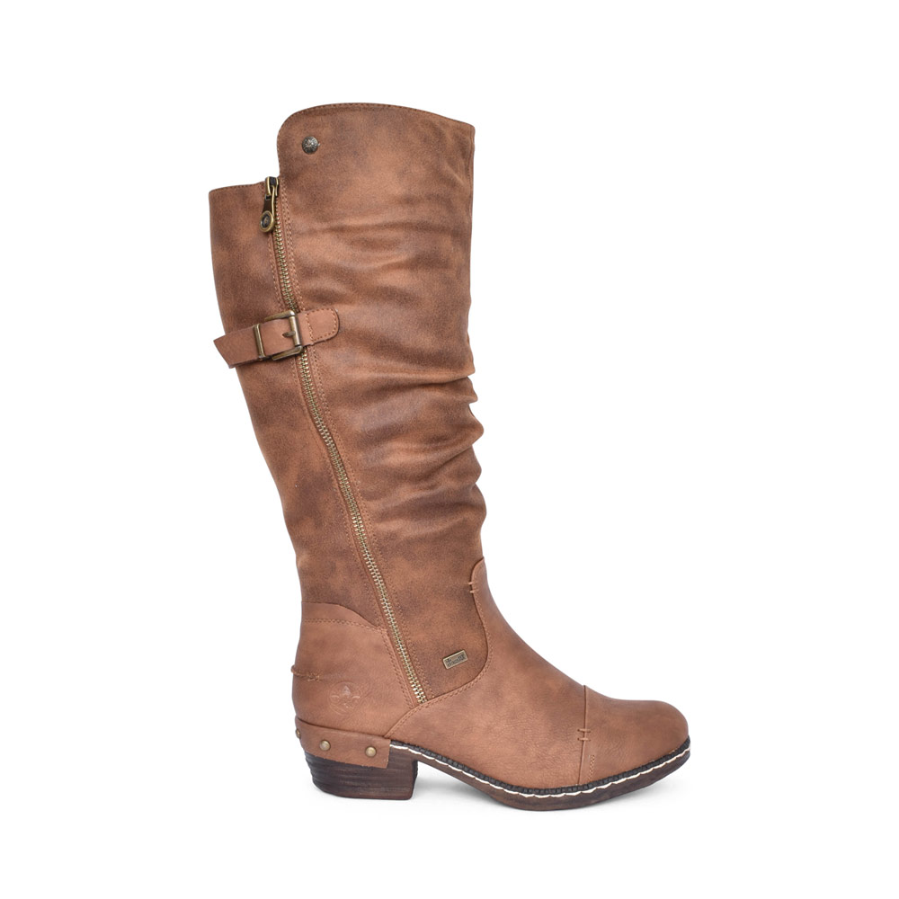 LADIES 93654 TEX LOW HEEL LONG LEG BOOT in TAN