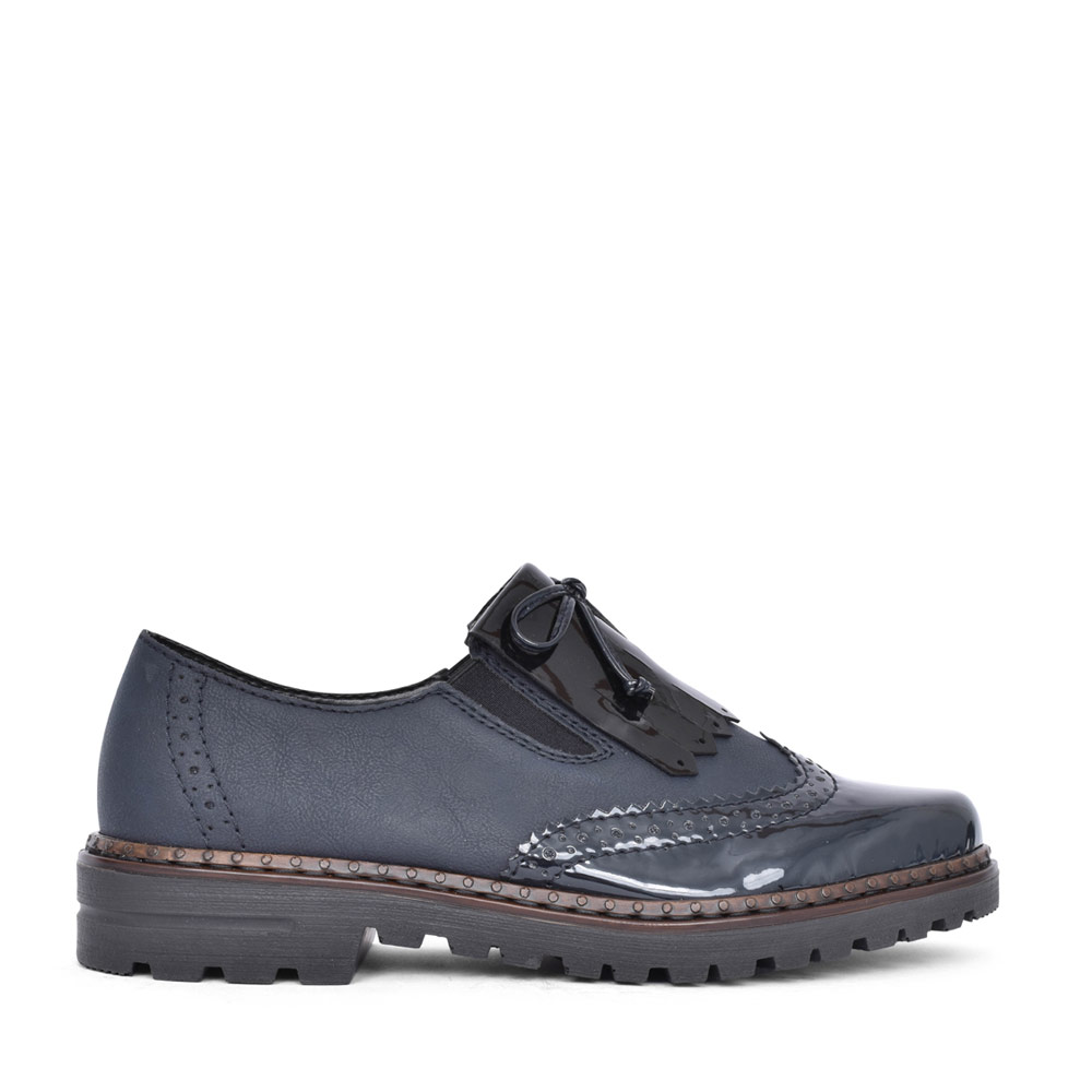 LADIES 54872 SLIP ON BROGUE SHOE  in NAVY