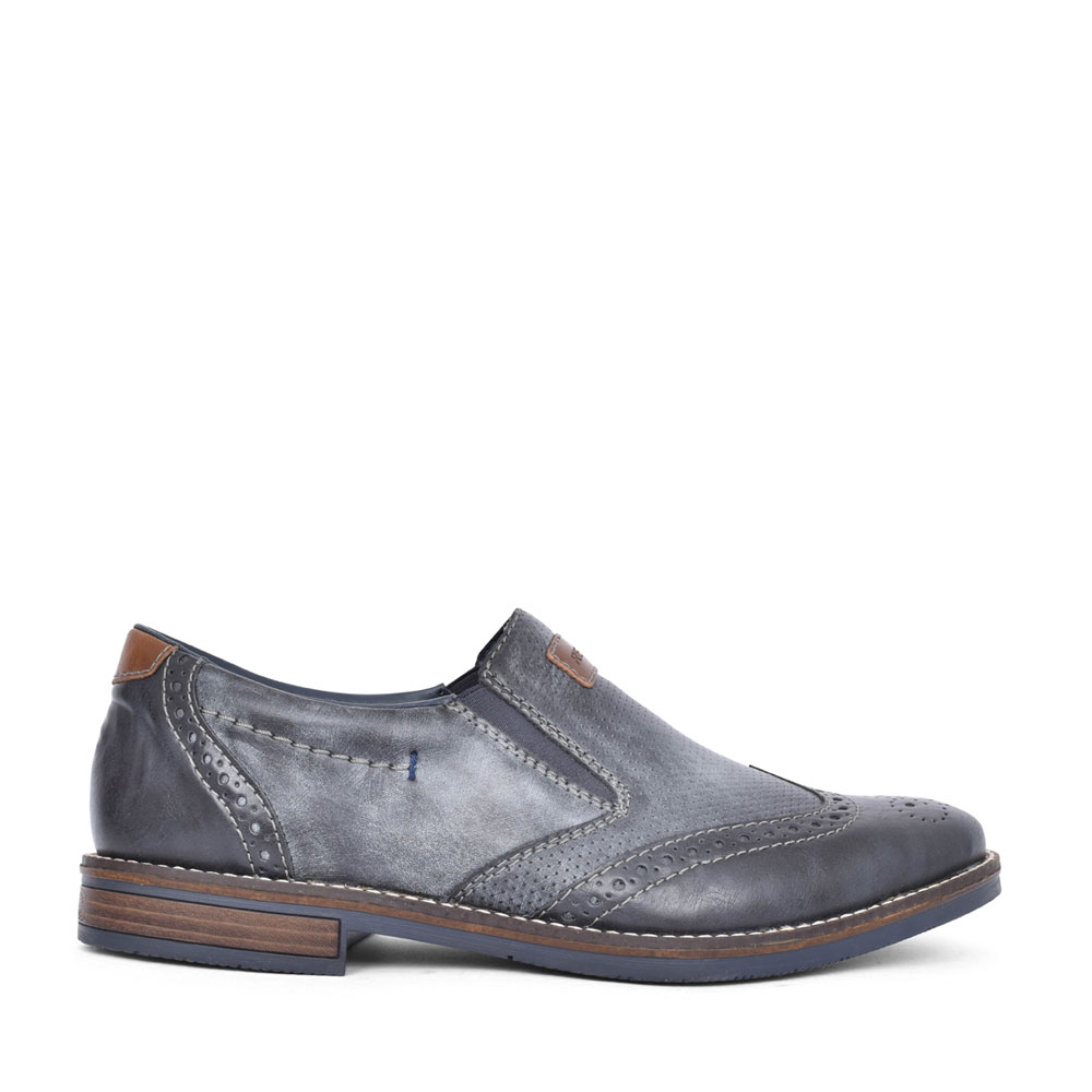 MENS 13561 BROGUE STYLE SLIP ON SHOE in NAVY