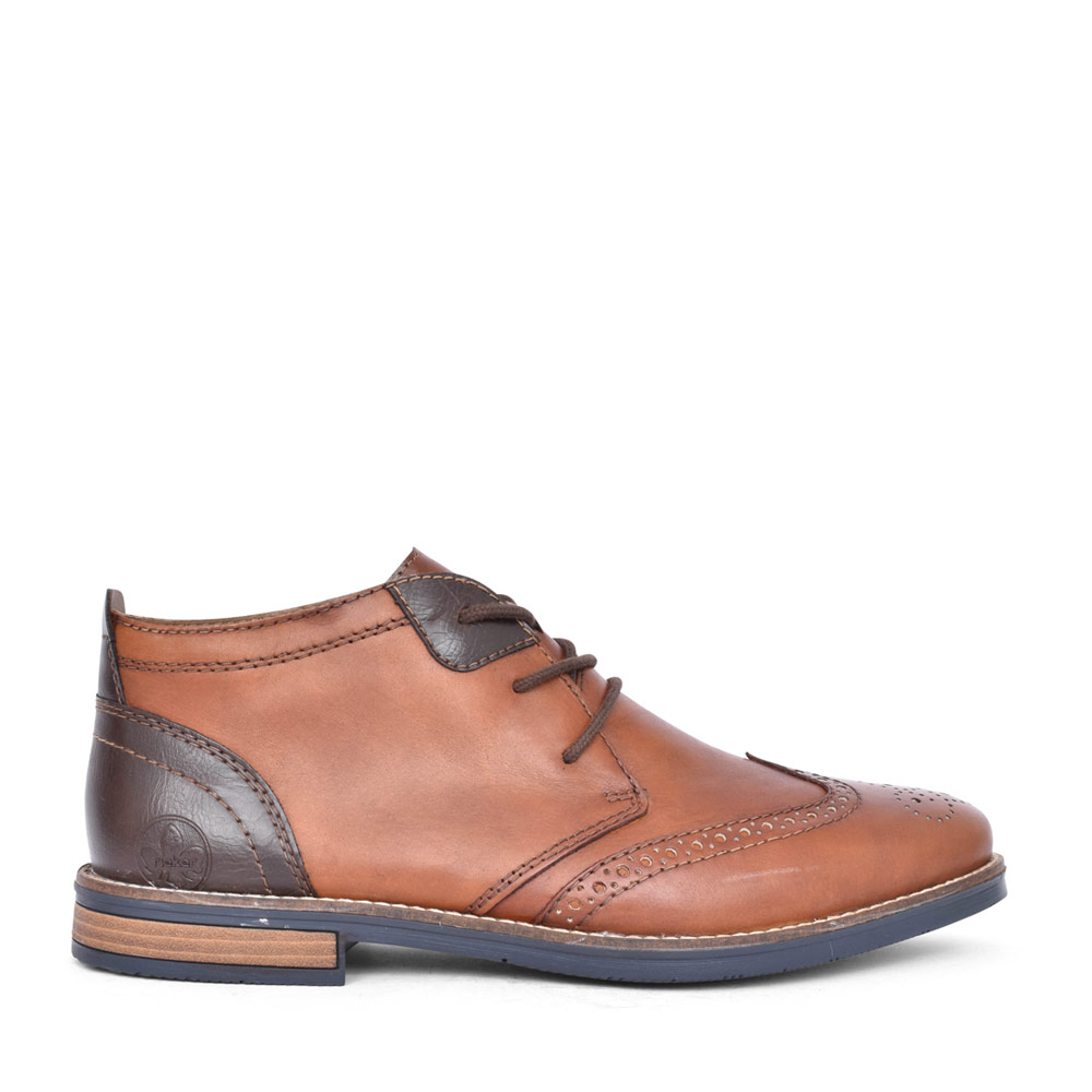 MENS LACED BROGUE STYLE ANKLE BOOT in TAN