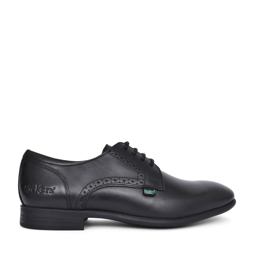 BOYS JARLE LEATHER LACED SHOE in BLK LEATHER