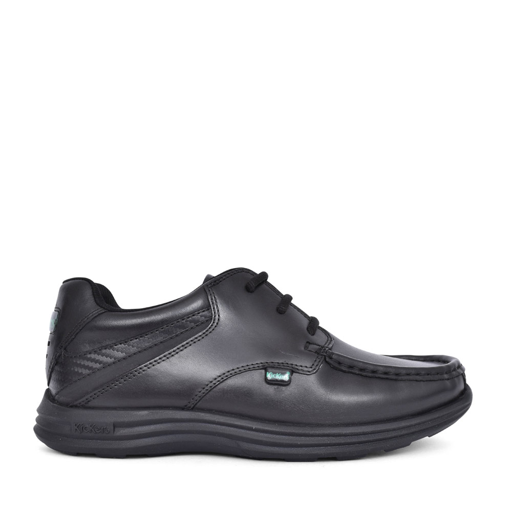 BOYS REASAN LACE BLACK LEATHER LACED SHOE in BLK LEATHER