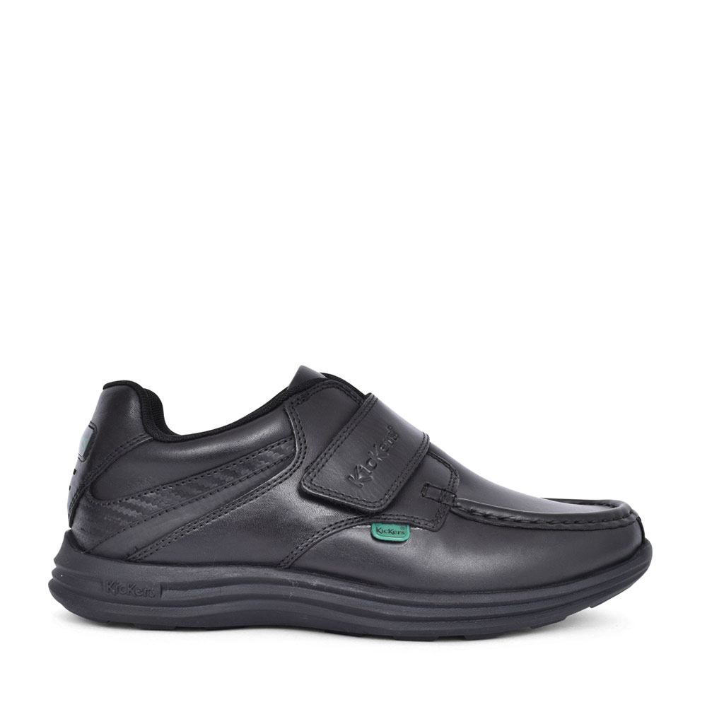 BOYS REASAN STRAP BLACK LEATHER VELCRO SHOE in BLK LEATHER