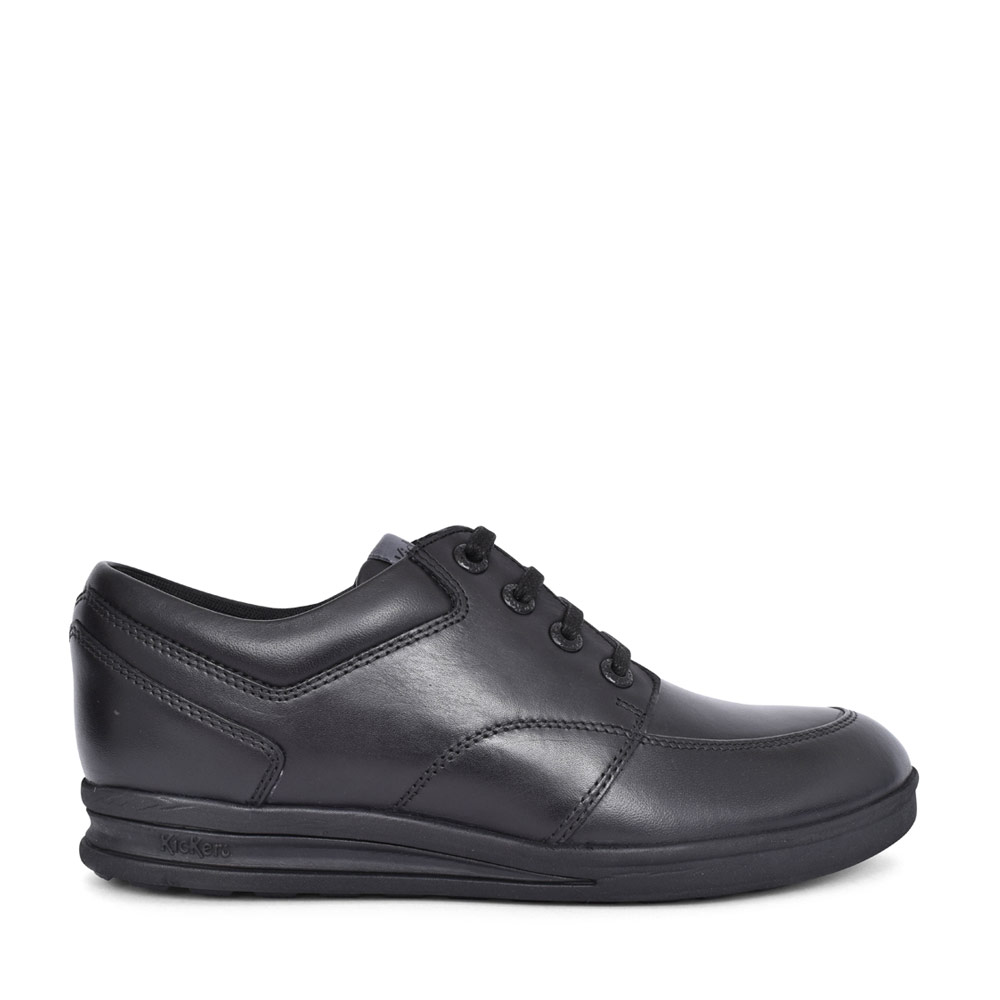 BOYS TROIKO BLACK LEATHER LACED SHOE in BLK LEATHER