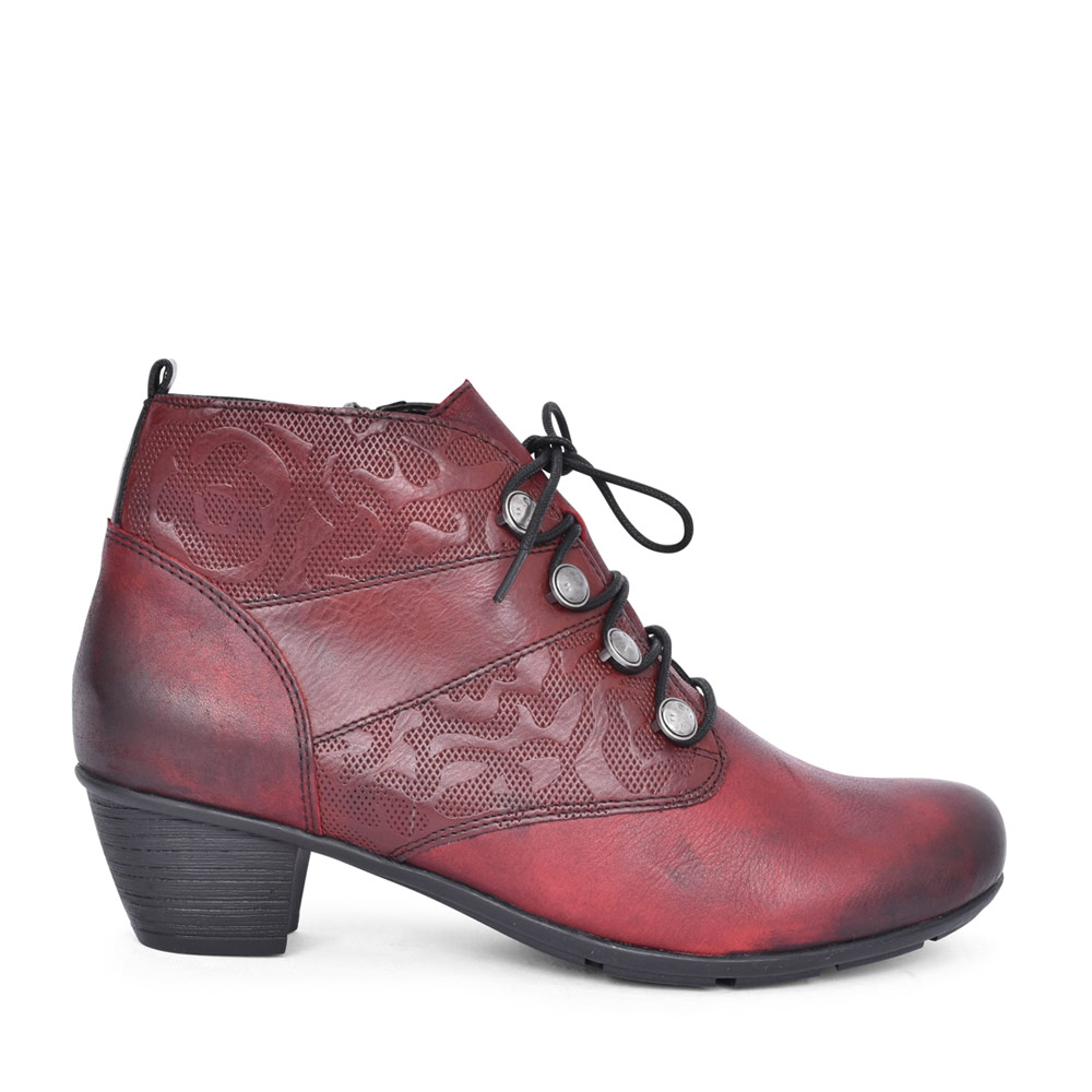 LADIES R7851 LOW HEEL LACED ANKLE BOOT in RED