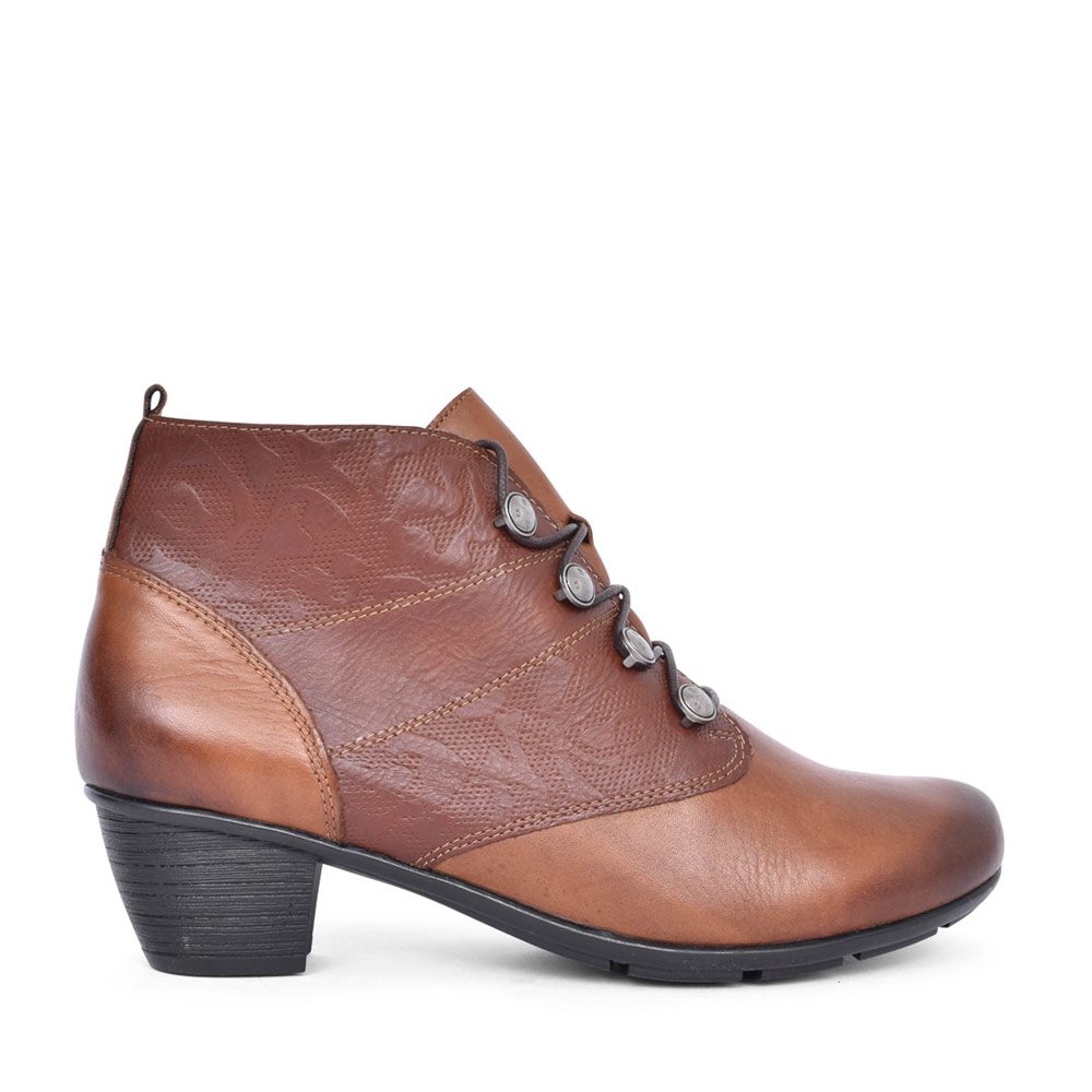 LADIES R7851 LOW HEEL LACED ANKLE BOOT in TAN