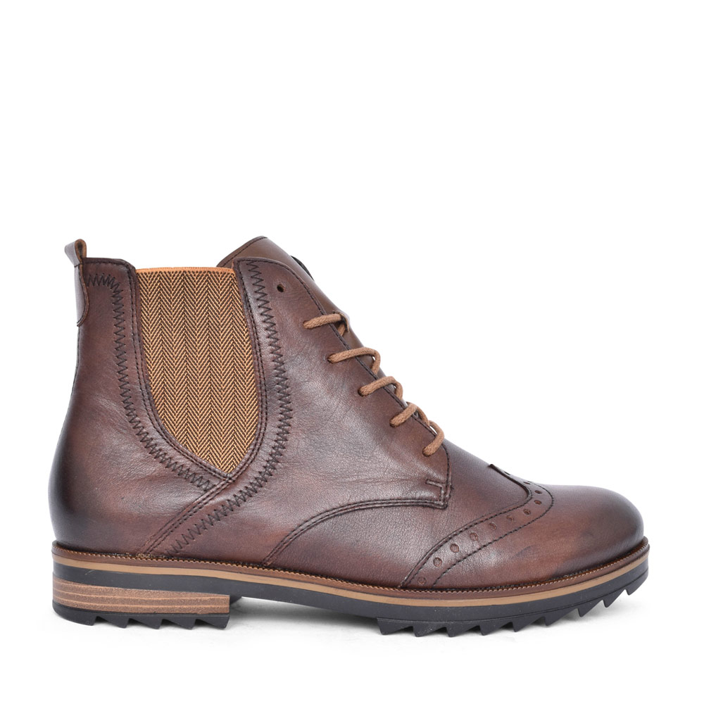 LADIES R2293 BROGUE STYLE LACED ANKLE BOOT in BROWN