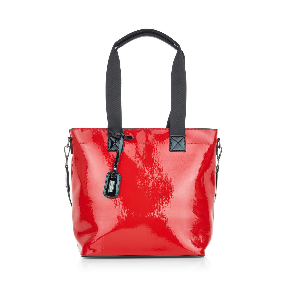 LADIES Q0496 LONG HANDLED SHOPPER BAG in RED