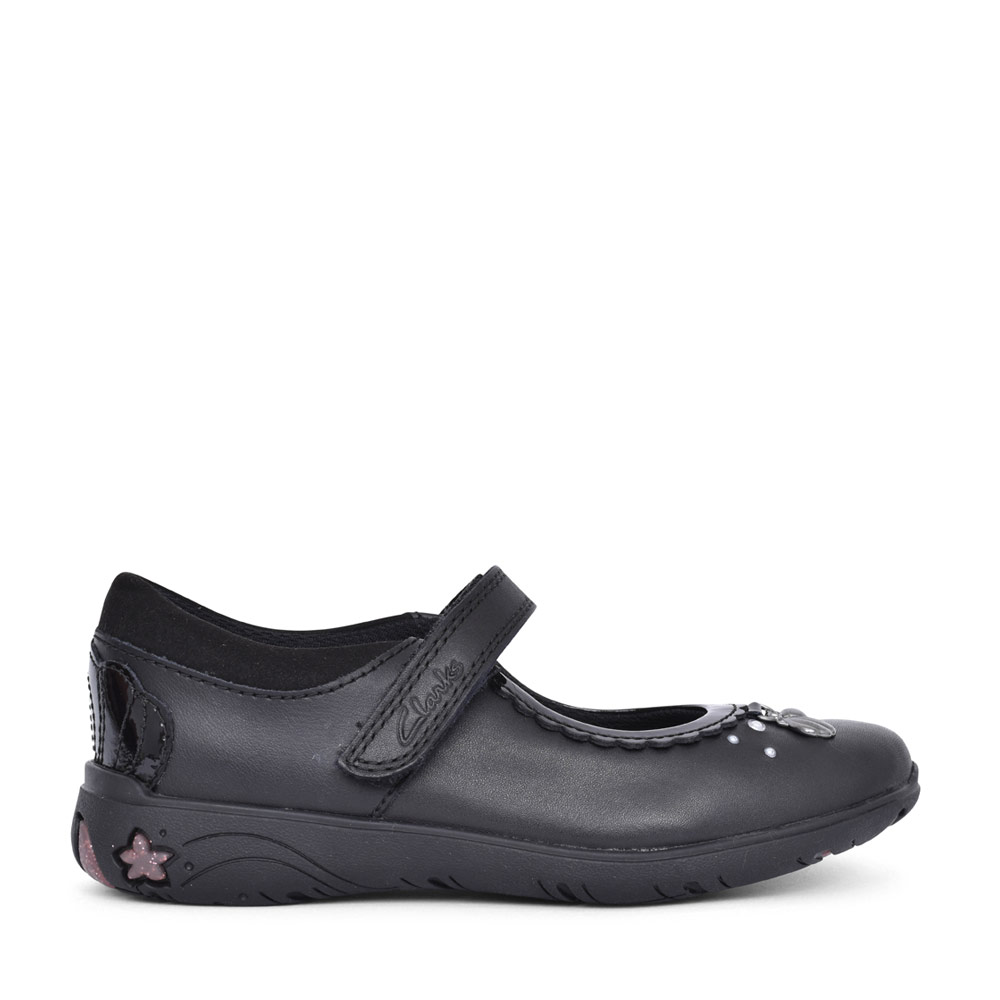 GIRLS SEA SHIMMER BLACK LEATHER MARY JANE SHOE in KIDS E FIT