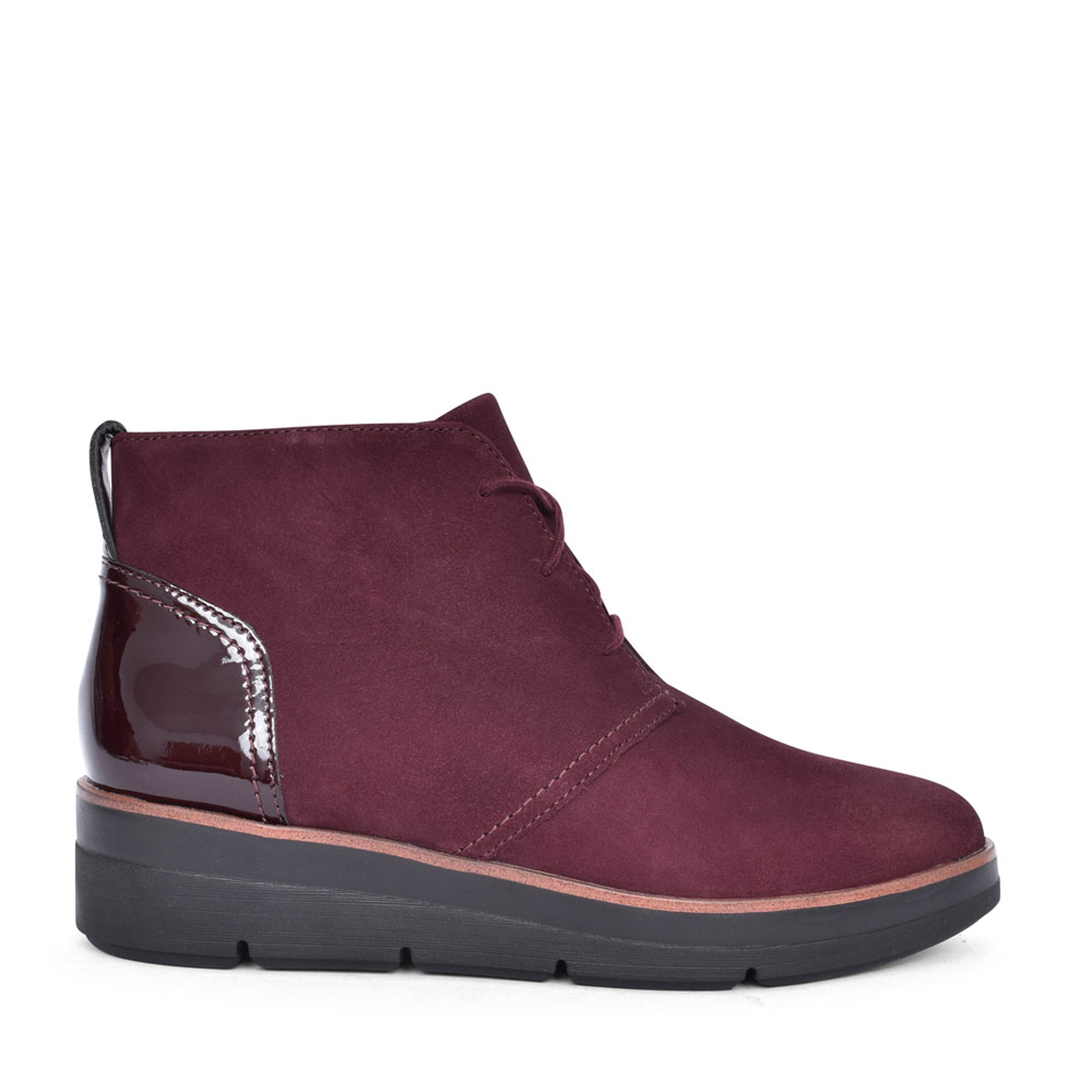 LADIES SHAYLIN MID COMBI D FIT LACED ANKLE BOOT in BURGANDY