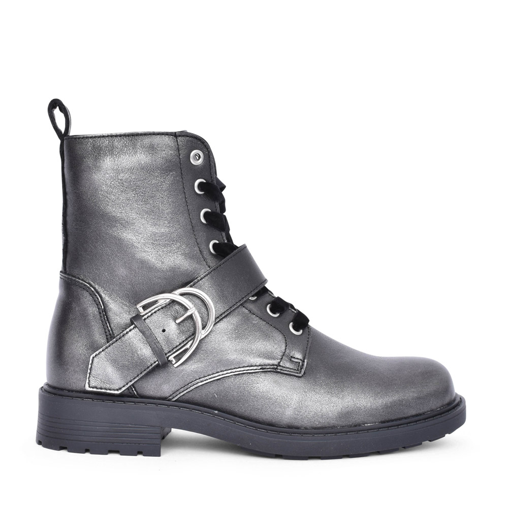LADIES ORINOCO2 BUCKLE LEATHER D FIT ANKLE BOOT in METALLIC