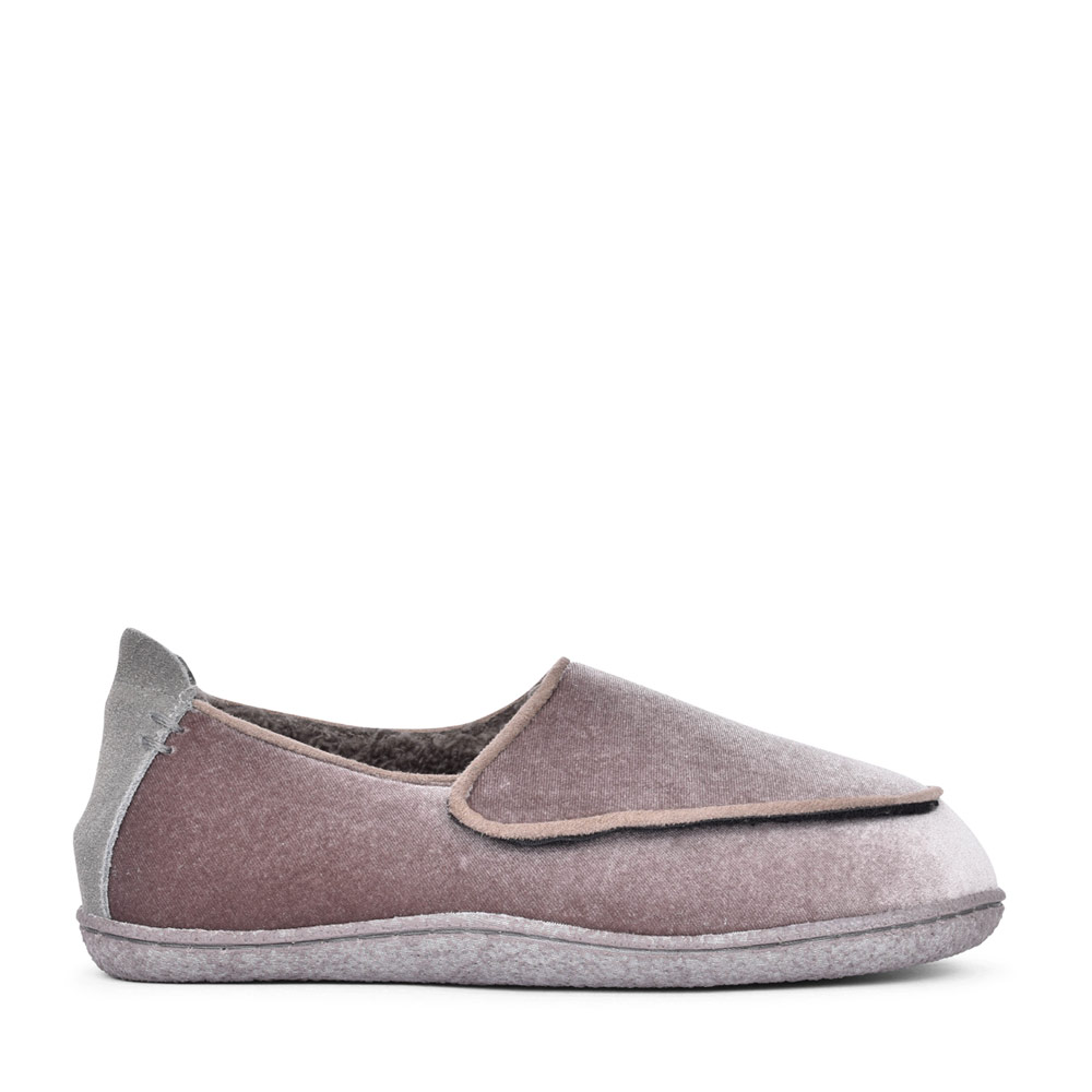LADIES HOME CHARM TEXTILE D FIT VELCRO SLIPPER in LAVENDER