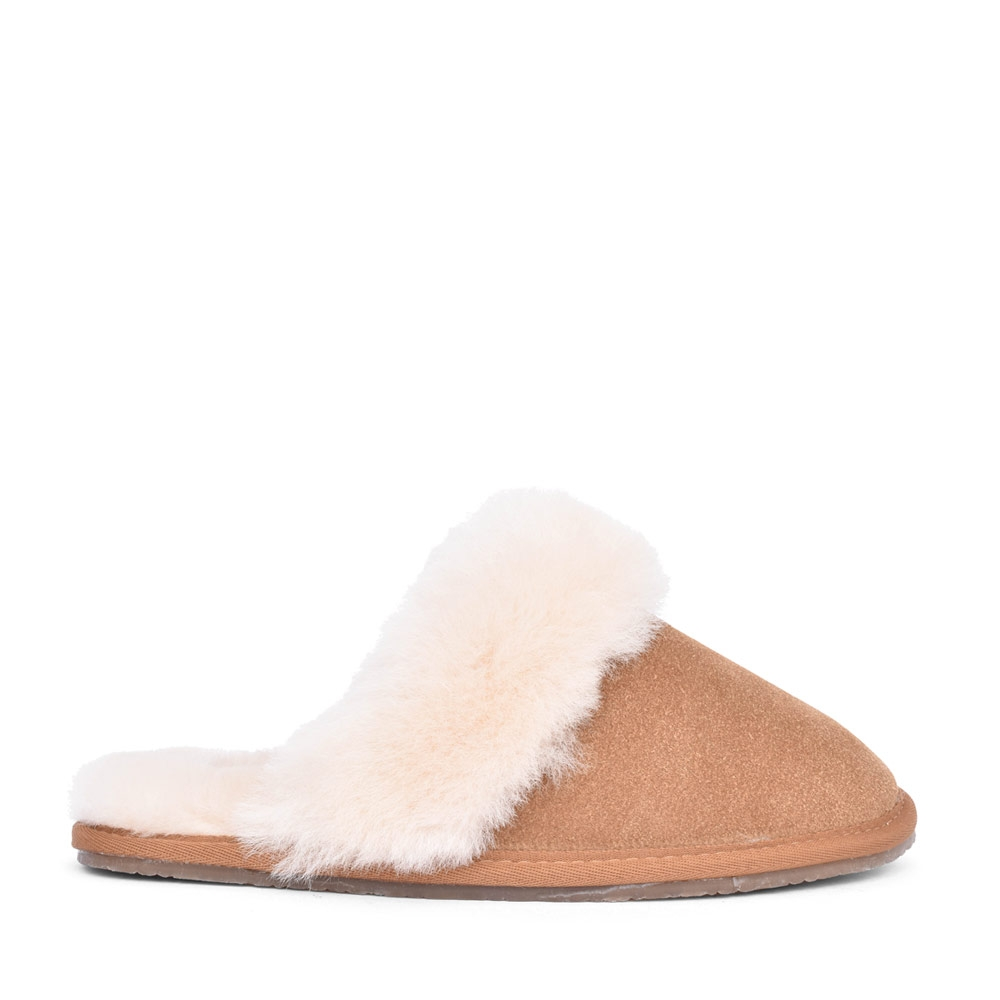 LADIES SUEDE D FIT MULE SLIPPER in TAN