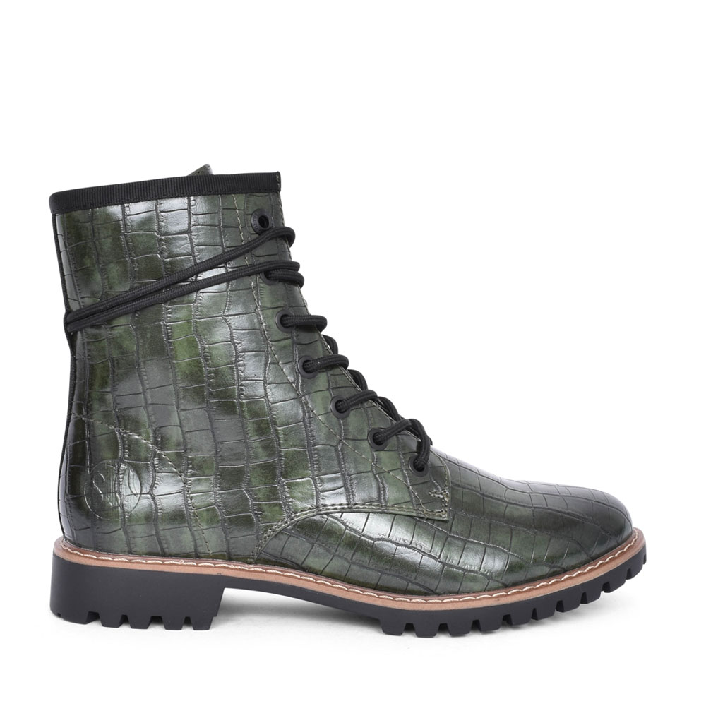 LADIES 5-25219 WRAP AROUND LACE ANKLE BOOT in GREEN