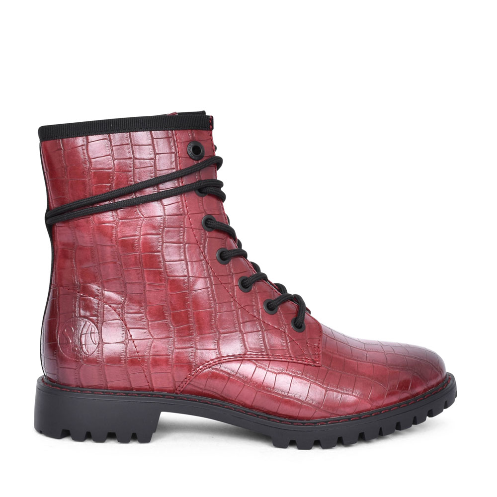 LADIES 5-25219 WRAP AROUND LACE ANKLE BOOT in BURGANDY