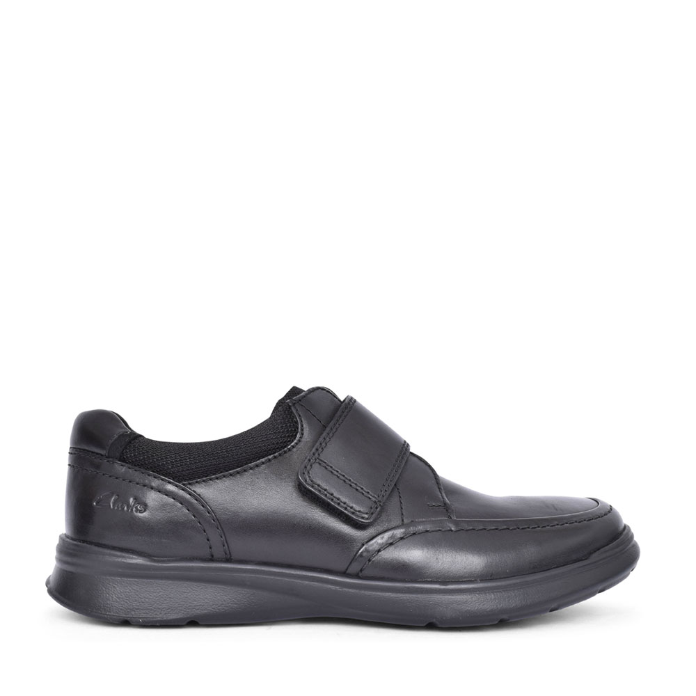 MENS COTRELL STRAP LEATHER G FIT VELCRO SHOE in BLK LEATHER